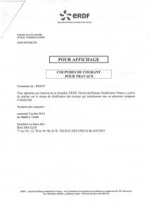 Mercredi 9 Juillet 2014 de 8h00 à 12h00 - BAS DES ILES et du N°72 au N°101 RUE DES EPOUX BLANCHOT